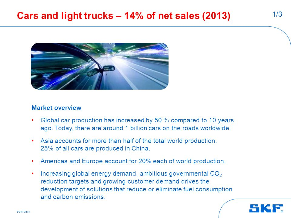 © SKF Group Cars and light trucks – 14% of net sales (2013) Market overview Global car production has increased by 50 % compared to 10 years ago. Toda