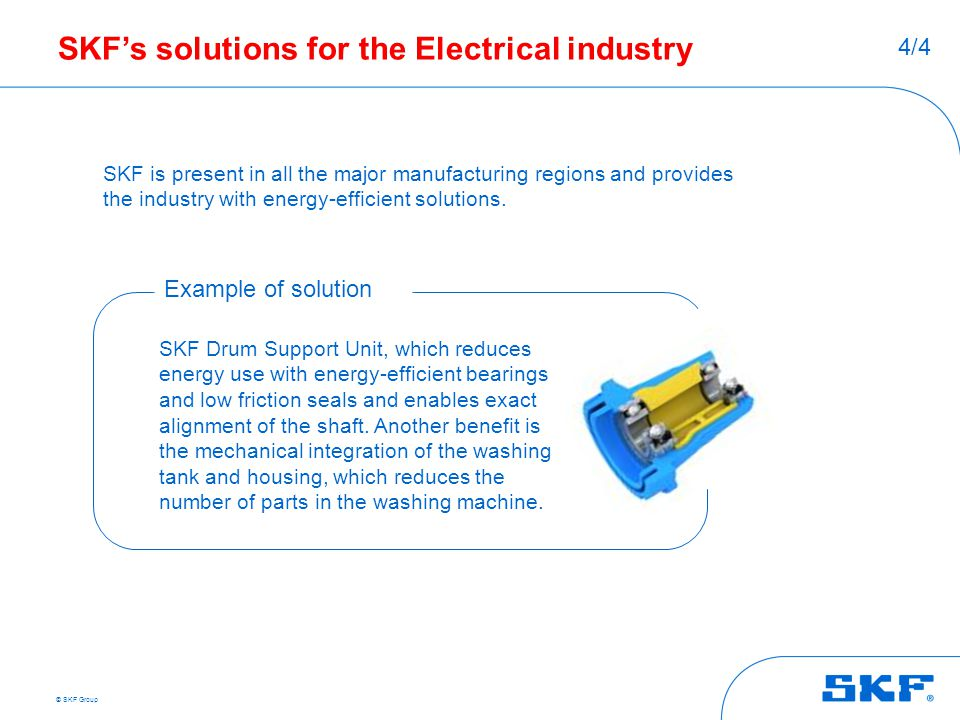 © SKF Group SKF's solutions for the Electrical industry SKF is present in all the major manufacturing regions and provides the industry with energy-ef