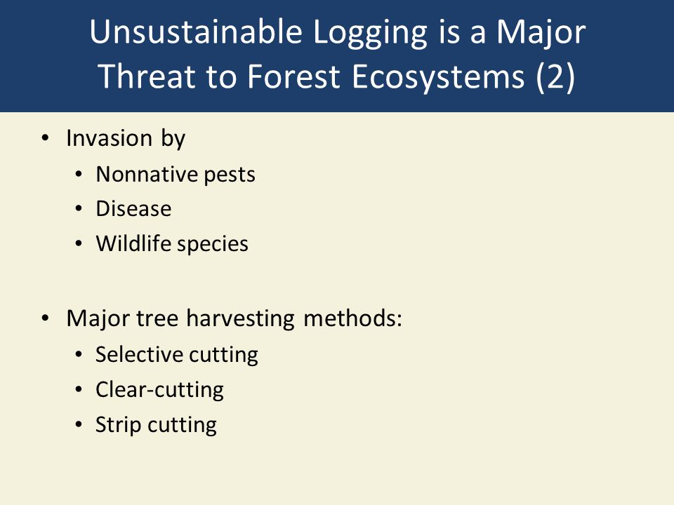 Unsustainable Logging is a Major Threat to Forest Ecosystems (2) Invasion by Nonnative pests Disease Wildlife species Major tree harvesting methods: S