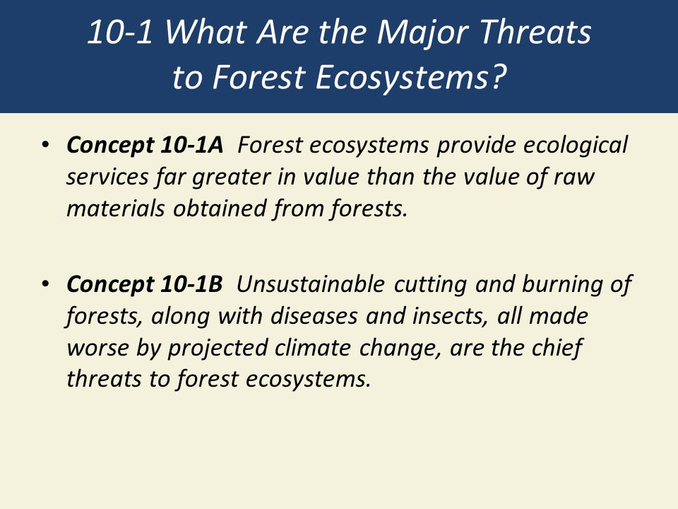 10-1 What Are the Major Threats to Forest Ecosystems? Concept 10-1A Forest ecosystems provide ecological services far greater in value than the value