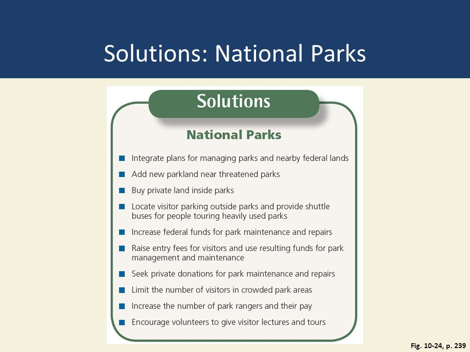 Solutions: National Parks Fig. 10-24, p. 239