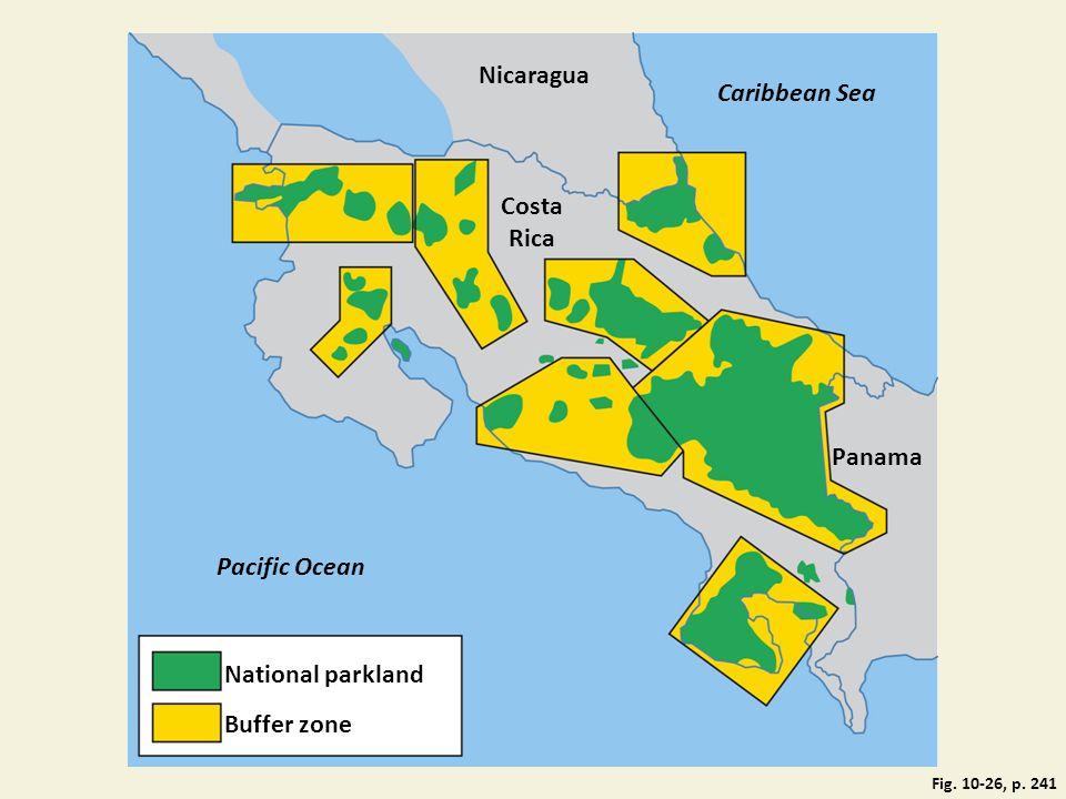 Nicaragua Caribbean Sea Costa Rica Panama Pacific Ocean National parkland Buffer zone