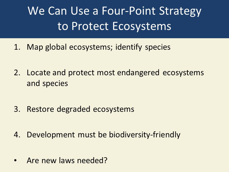 We Can Use a Four-Point Strategy to Protect Ecosystems 1.Map global ecosystems; identify species 2.Locate and protect most endangered ecosystems and s