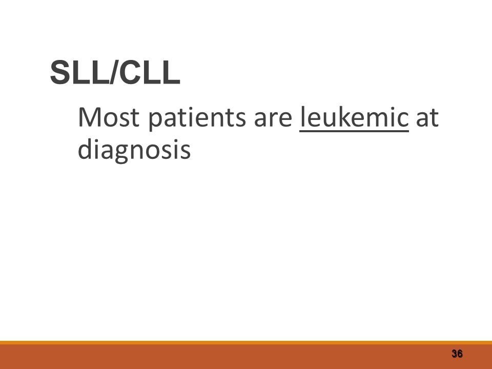 36 SLL/CLL Most patients are leukemic at diagnosis