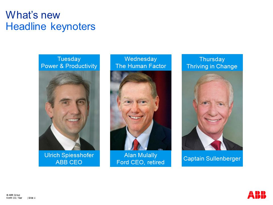 What's new Headline keynoters Month DD, Year | Slide 4 © ABB Group Tuesday Power & Productivity Wednesday The Human Factor Thursday Thriving in Change Ulrich Spiesshofer ABB CEO Alan Mulally Ford CEO, retired Captain Sullenberger