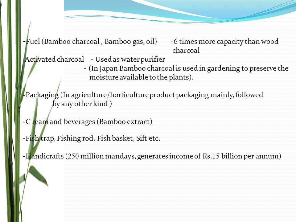 - Fuel (Bamboo charcoal, Bamboo gas, oil)-6 times more capacity than wood charcoal Activated charcoal - Used as water purifier - (In Japan Bamboo char
