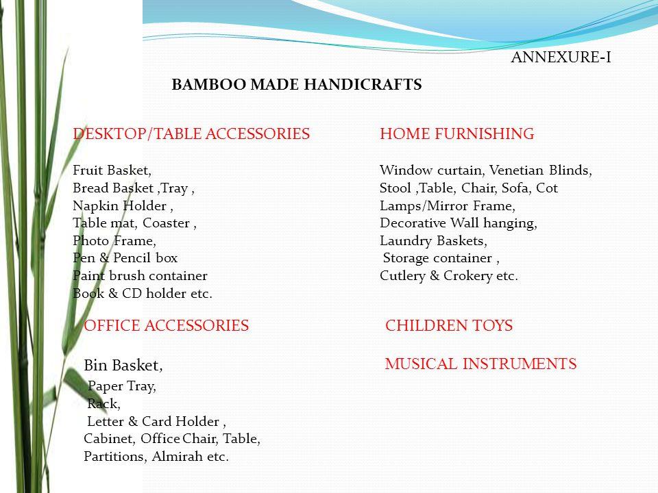 ANNEXURE-I BAMBOO MADE HANDICRAFTS DESKTOP/TABLE ACCESSORIES Fruit Basket, Bread Basket,Tray, Napkin Holder, Table mat, Coaster, Photo Frame, Pen & Pe