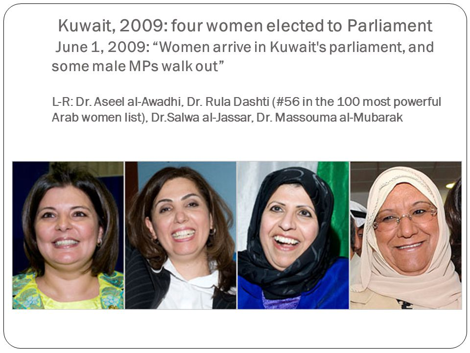 Kuwait, 2009: four women elected to Parliament June 1, 2009: Women arrive in Kuwait s parliament, and some male MPs walk out L-R: Dr.
