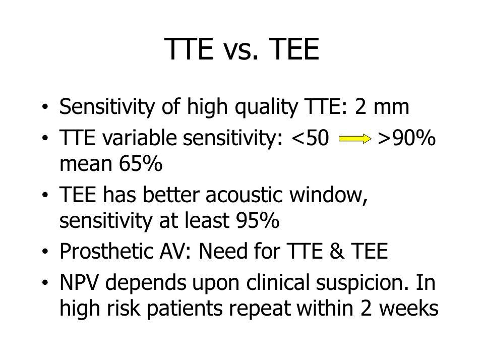 TTE vs. TEE Sensitivity of high quality TTE: 2 mm TTE variable sensitivity: 90% mean 65% TEE has better acoustic window, sensitivity at least 95% Pros