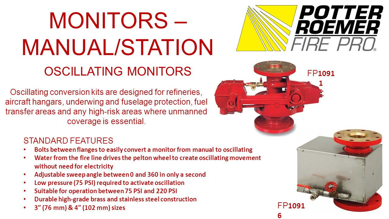 MONITORS – MANUAL/STATION OSCILLATING MONITORS FP 1091 1 FP 1091 6 Oscillating conversion kits are designed for refineries, aircraft hangars, underwing and fuselage protection, fuel transfer areas and any high-risk areas where unmanned coverage is essential.