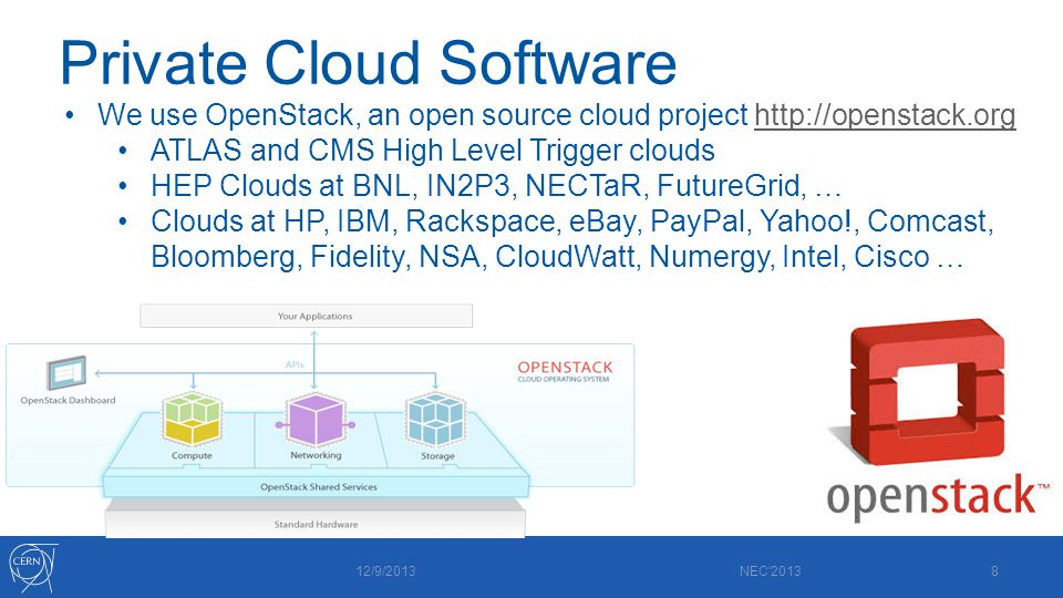 Private Cloud Software 12/9/2013 NEC 20138 We use OpenStack, an open source cloud project http://openstack.orghttp://openstack.org ATLAS and CMS High Level Trigger clouds HEP Clouds at BNL, IN2P3, NECTaR, FutureGrid, … Clouds at HP, IBM, Rackspace, eBay, PayPal, Yahoo!, Comcast, Bloomberg, Fidelity, NSA, CloudWatt, Numergy, Intel, Cisco …