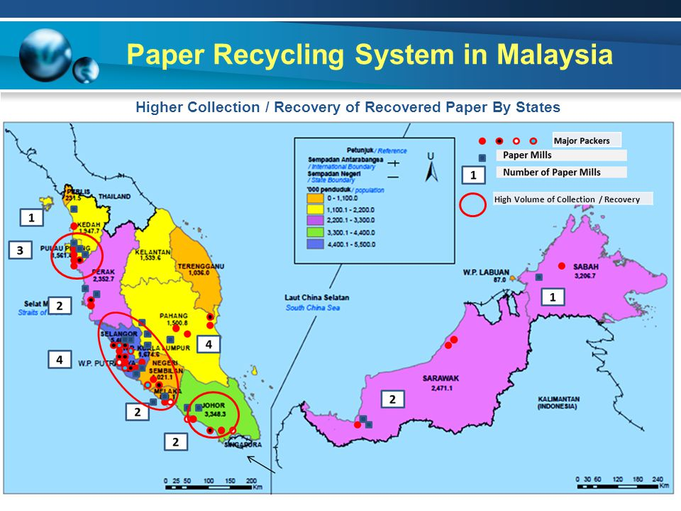 Paper Recycling System in Malaysia High Volume of Collection / Recovery Higher Collection / Recovery of Recovered Paper By States
