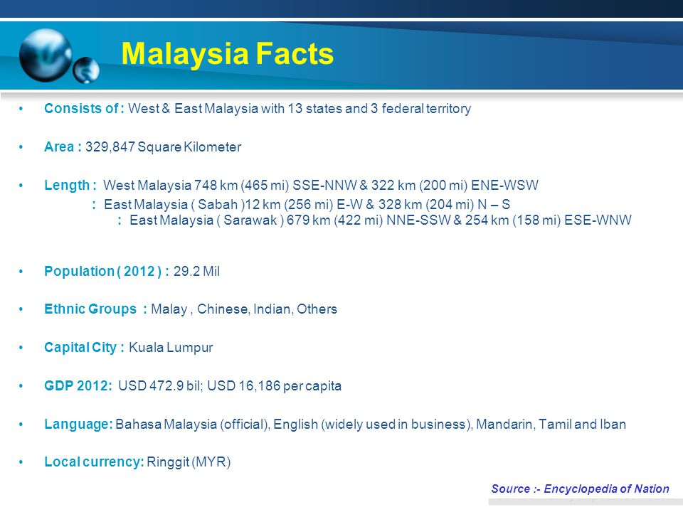 Malaysia Facts Consists of : West & East Malaysia with 13 states and 3 federal territory Area : 329,847 Square Kilometer Length : West Malaysia 748 km (465 mi) SSE-NNW & 322 km (200 mi) ENE-WSW : East Malaysia ( Sabah )12 km (256 mi) E-W & 328 km (204 mi) N – S : East Malaysia ( Sarawak ) 679 km (422 mi) NNE-SSW & 254 km (158 mi) ESE-WNW Population ( 2012 ) : 29.2 Mil Ethnic Groups : Malay, Chinese, Indian, Others Capital City : Kuala Lumpur GDP 2012: USD 472.9 bil; USD 16,186 per capita Language: Bahasa Malaysia (official), English (widely used in business), Mandarin, Tamil and Iban Local currency: Ringgit (MYR) Source :- Encyclopedia of Nation