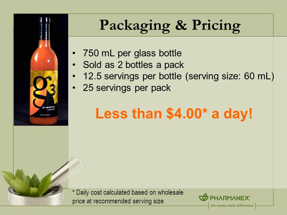 Packaging & Pricing 750 mL per glass bottle Sold as 2 bottles a pack 12.5 servings per bottle (serving size: 60 mL) 25 servings per pack Less than $4.