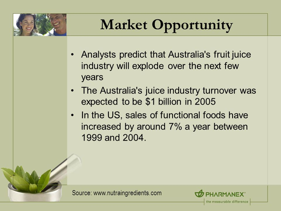 Market Opportunity Analysts predict that Australia s fruit juice industry will explode over the next few years The Australia s juice industry turnover was expected to be $1 billion in 2005 In the US, sales of functional foods have increased by around 7% a year between 1999 and 2004.