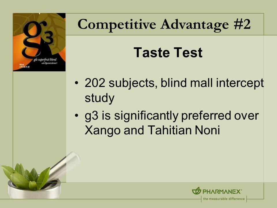 Taste Test 202 subjects, blind mall intercept study g3 is significantly preferred over Xango and Tahitian Noni Competitive Advantage #2