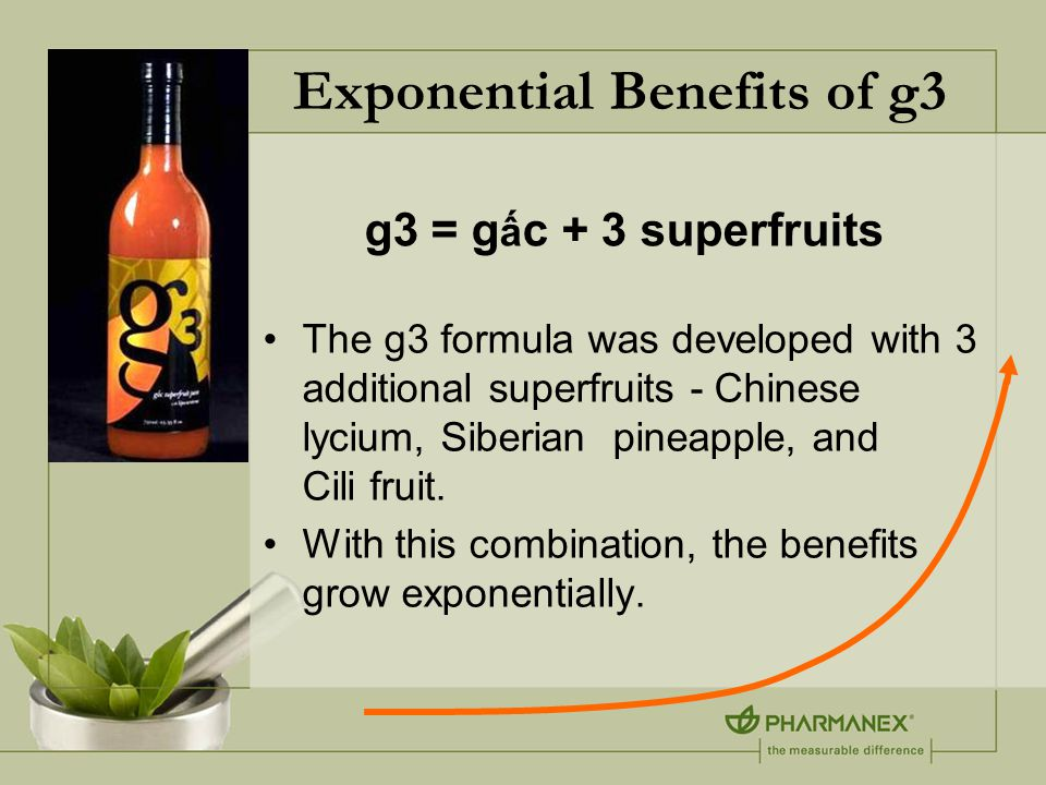 Exponential Benefits of g3 The g3 formula was developed with 3 additional superfruits - Chinese lycium, Siberian pineapple, and Cili fruit.