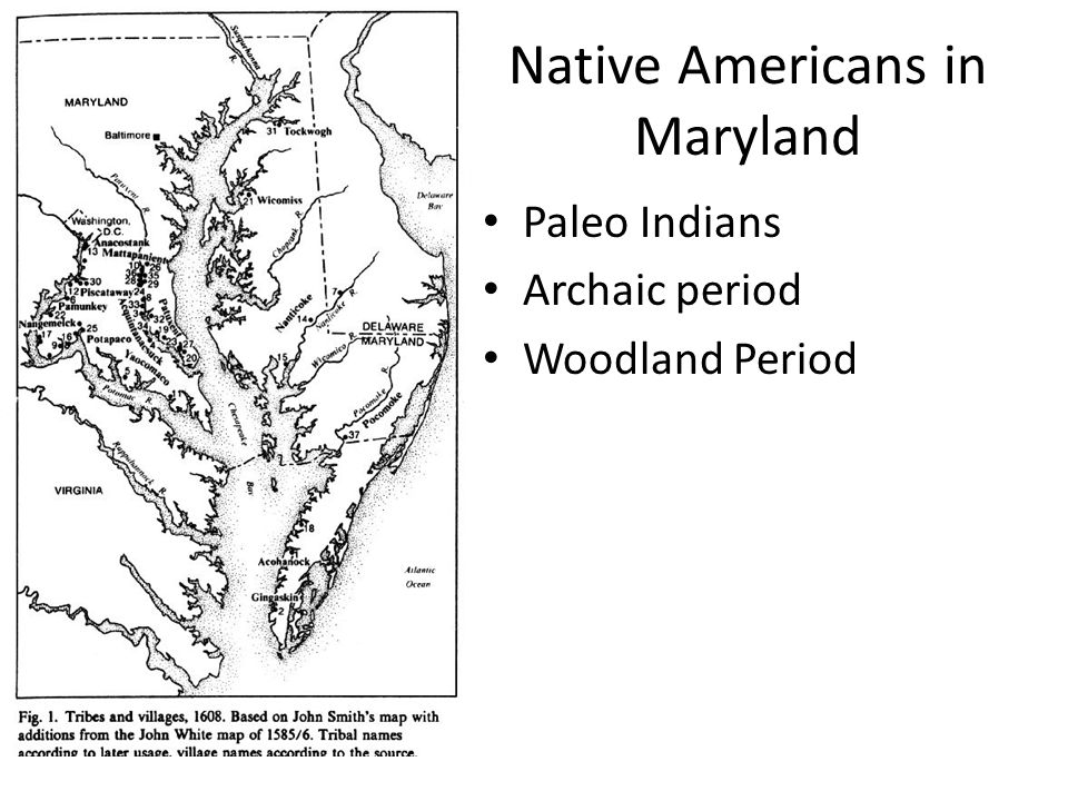 Native Americans in Maryland Paleo Indians Archaic period Woodland Period