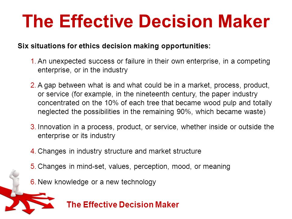 The Effective Decision Maker Six situations for ethics decision making opportunities: 1.An unexpected success or failure in their own enterprise, in a competing enterprise, or in the industry 2.A gap between what is and what could be in a market, process, product, or service (for example, in the nineteenth century, the paper industry concentrated on the 10% of each tree that became wood pulp and totally neglected the possibilities in the remaining 90%, which became waste) 3.Innovation in a process, product, or service, whether inside or outside the enterprise or its industry 4.Changes in industry structure and market structure 5.Changes in mind-set, values, perception, mood, or meaning 6.New knowledge or a new technology