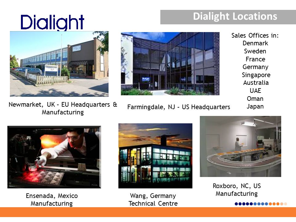 Dialight Locations Newmarket, UK – EU Headquarters & Manufacturing Farmingdale, NJ – US Headquarters Ensenada, Mexico Manufacturing Wang, Germany Technical Centre Roxboro, NC, US Manufacturing Sales Offices in: Denmark Sweden France Germany Singapore Australia UAE Oman Japan