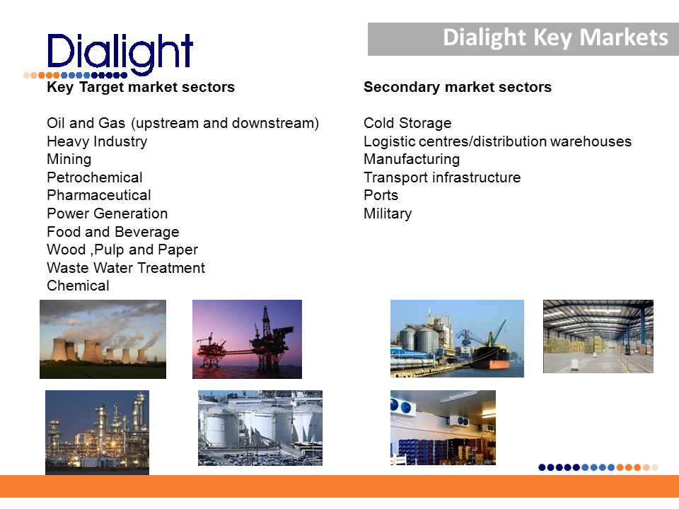 Dialight Key Markets Key Target market sectors Oil and Gas (upstream and downstream) Heavy Industry Mining Petrochemical Pharmaceutical Power Generation Food and Beverage Wood,Pulp and Paper Waste Water Treatment Chemical Secondary market sectors Cold Storage Logistic centres/distribution warehouses Manufacturing Transport infrastructure Ports Military