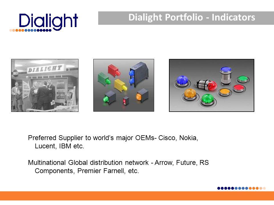 Dialight Portfolio - Indicators Preferred Supplier to world's major OEMs- Cisco, Nokia, Lucent, IBM etc. Multinational Global distribution network - A