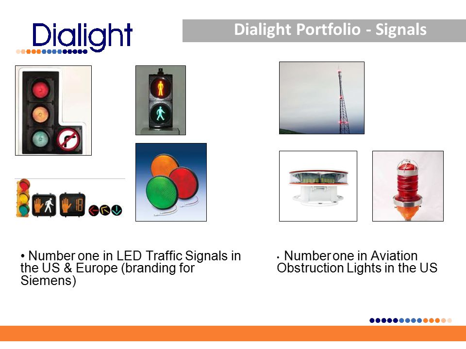 Dialight Portfolio - Signals Number one in LED Traffic Signals in the US & Europe (branding for Siemens) Number one in Aviation Obstruction Lights in the US