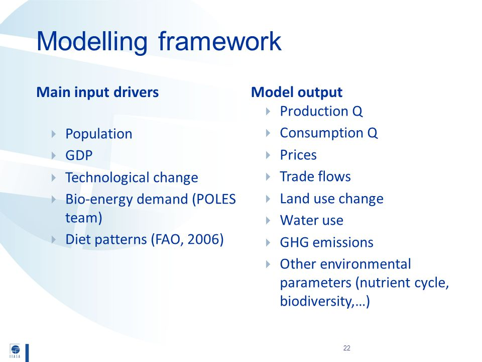 Main input driversModel output  Population  GDP  Technological change  Bio-energy demand (POLES team)  Diet patterns (FAO, 2006)  Production Q  Consumption Q  Prices  Trade flows  Land use change  Water use  GHG emissions  Other environmental parameters (nutrient cycle, biodiversity,…) Modelling framework 22