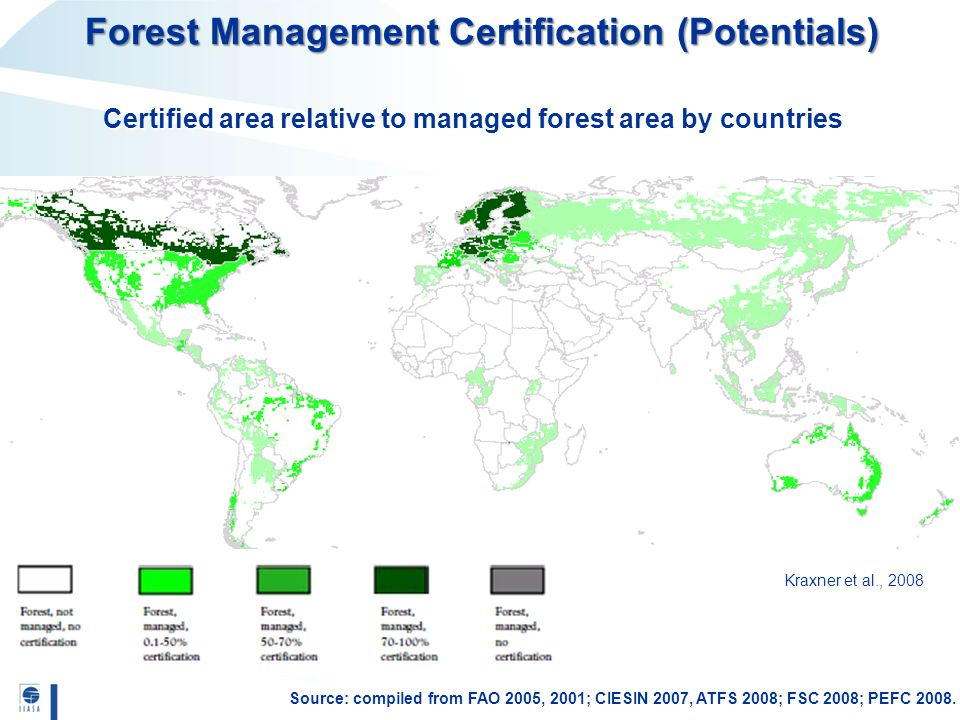 Source: compiled from FAO 2005, 2001; CIESIN 2007, ATFS 2008; FSC 2008; PEFC 2008. Kraxner et al., 2008 Certified area relative to managed forest area