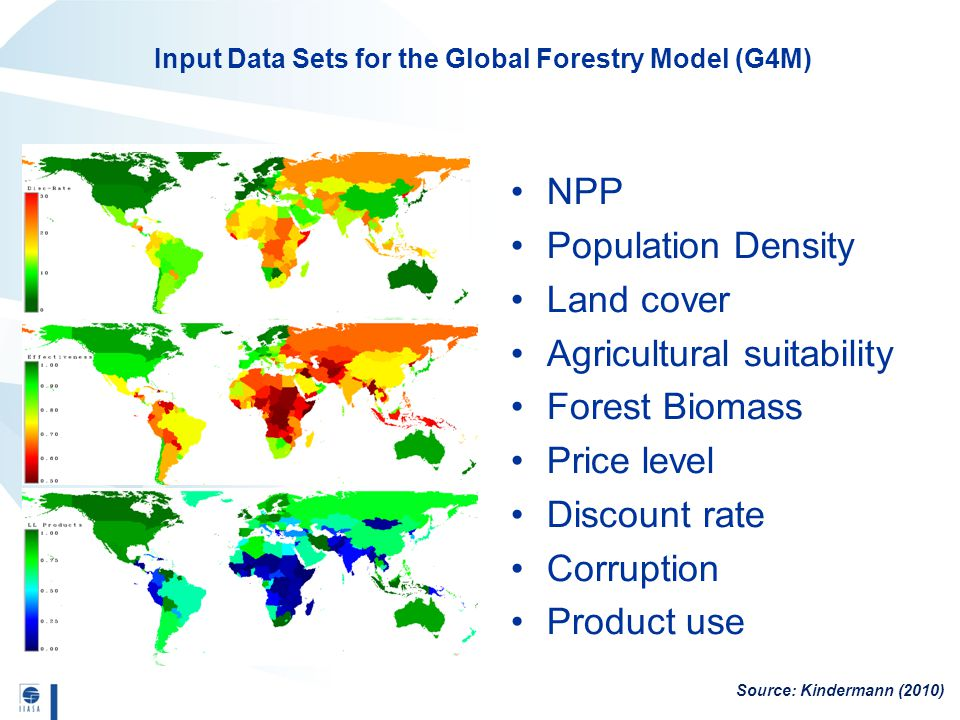 NPP Population Density Land cover Agricultural suitability Forest Biomass Price level Discount rate Corruption Product use Source: Kindermann (2010) Input Data Sets for the Global Forestry Model (G4M)