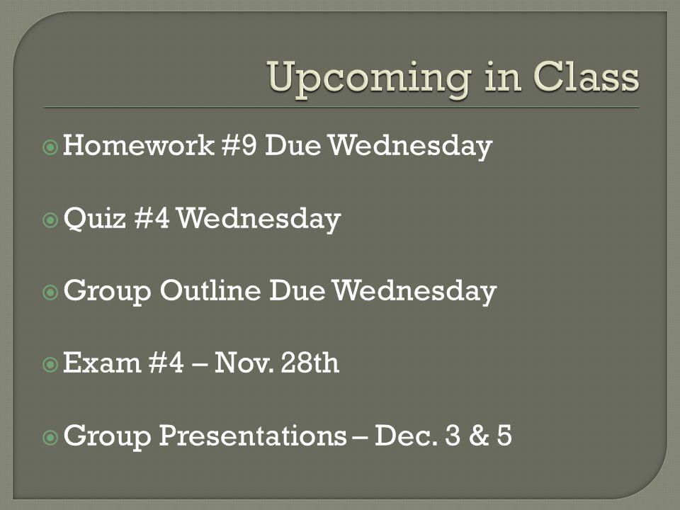  Homework #9 Due Wednesday  Quiz #4 Wednesday  Group Outline Due Wednesday  Exam #4 – Nov.