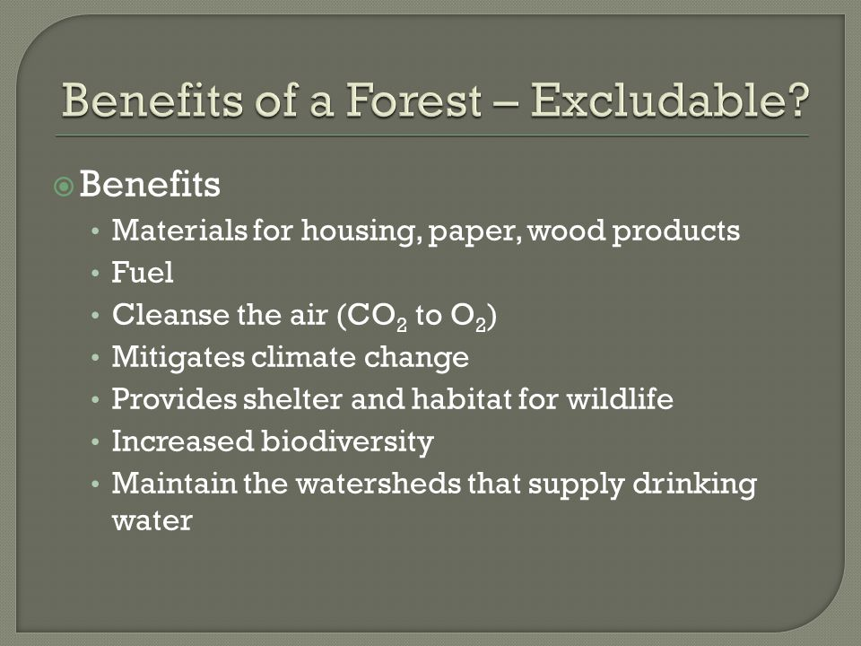  Benefits Materials for housing, paper, wood products Fuel Cleanse the air (CO 2 to O 2 ) Mitigates climate change Provides shelter and habitat for wildlife Increased biodiversity Maintain the watersheds that supply drinking water
