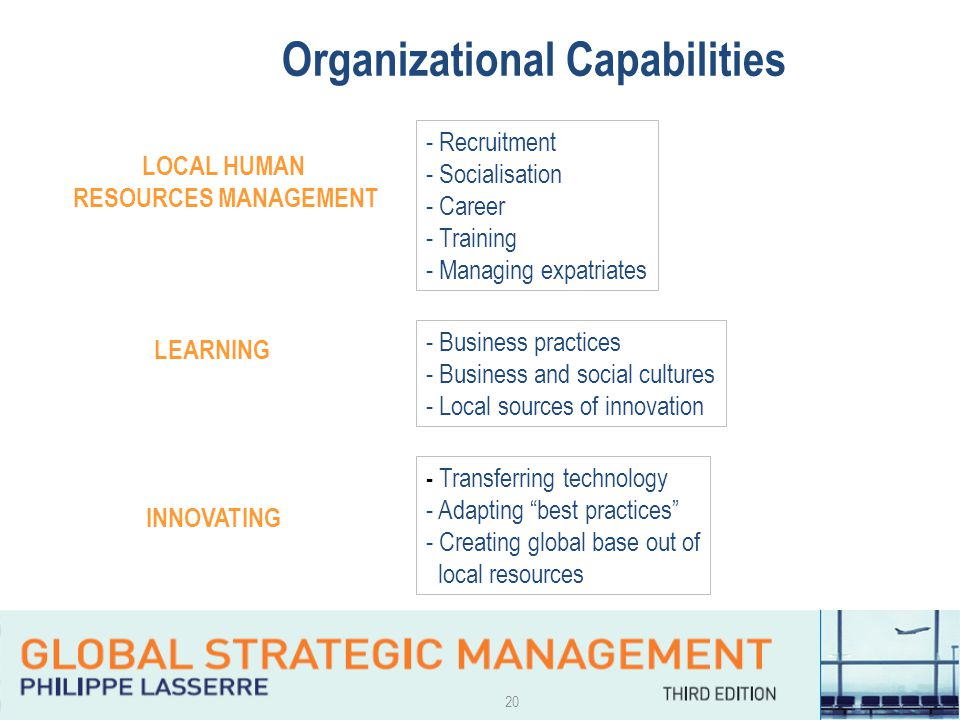 20 Organizational Capabilities LOCAL HUMAN RESOURCES MANAGEMENT - Recruitment - Socialisation - Career - Training - Managing expatriates LEARNING - Bu