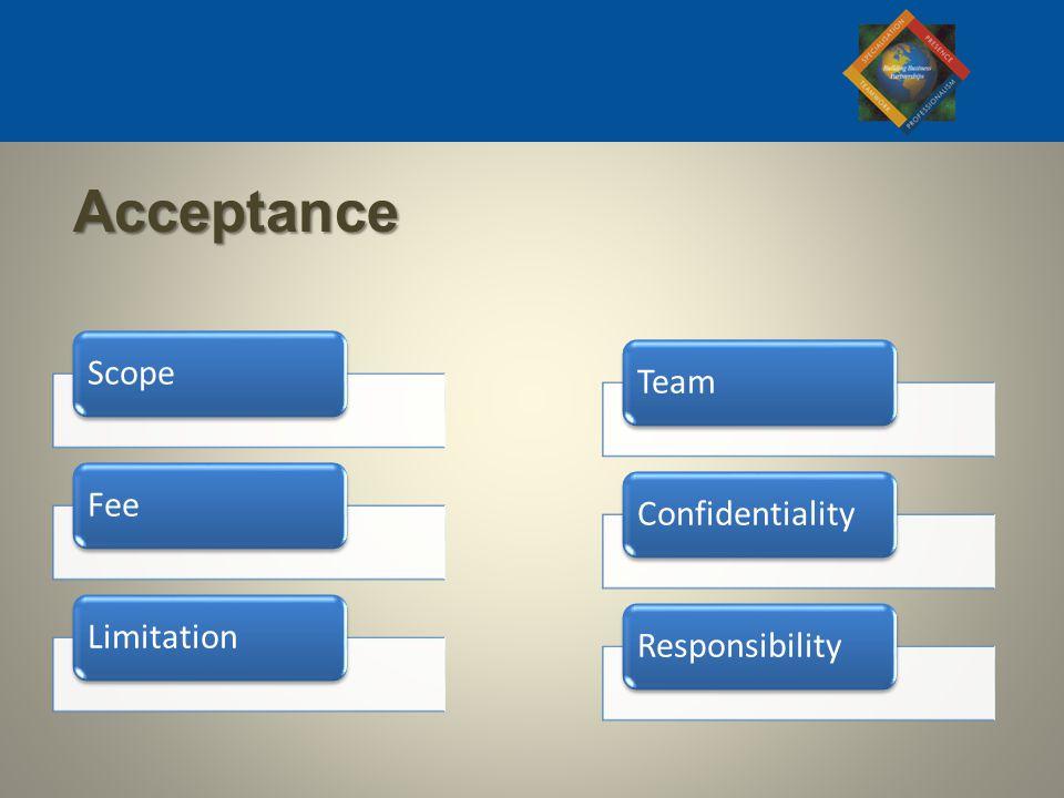 ScopeFeeLimitationTeamConfidentialityResponsibility Acceptance