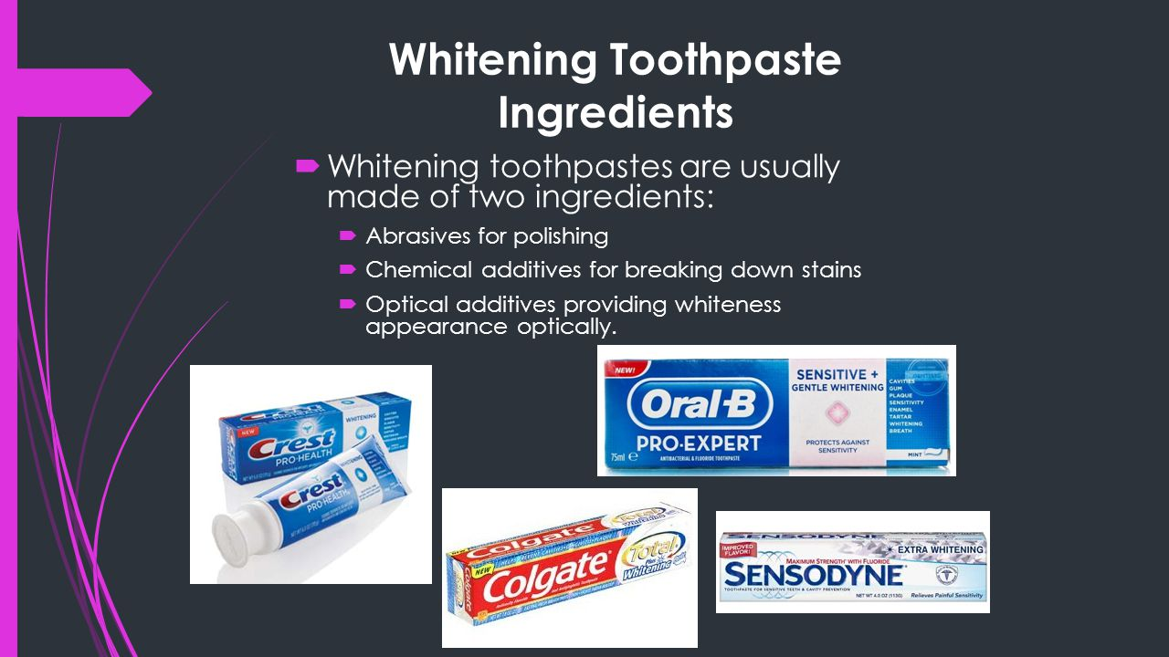 Whitening Toothpaste Ingredients  Whitening toothpastes are usually made of two ingredients:  Abrasives for polishing  Chemical additives for breaking down stains  Optical additives providing whiteness appearance optically.