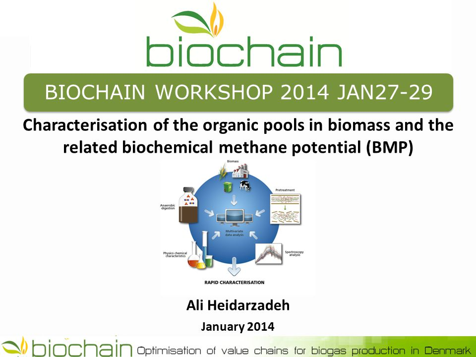 BIOCHAIN WORKSHOP 2014 JAN27-29 Characterisation of the organic pools in biomass and the related biochemical methane potential (BMP) Ali Heidarzadeh January 2014