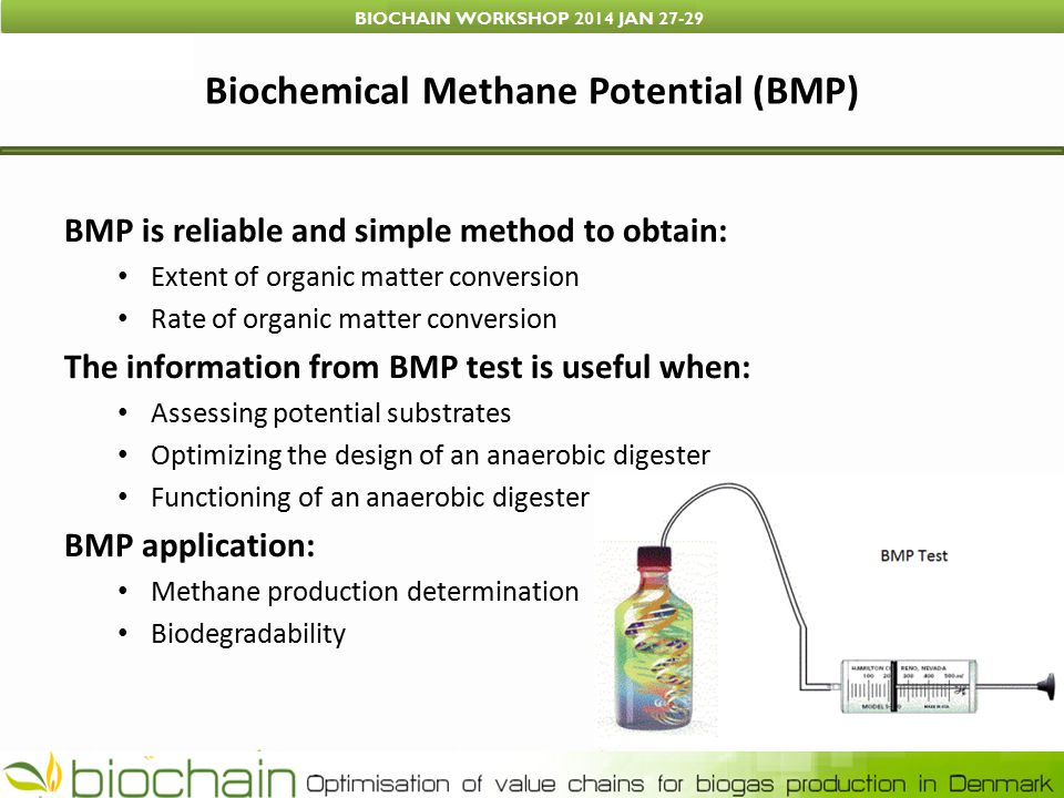 Biochemical Methane Potential (BMP) BMP is reliable and simple method to obtain: Extent of organic matter conversion Rate of organic matter conversion The information from BMP test is useful when: Assessing potential substrates Optimizing the design of an anaerobic digester Functioning of an anaerobic digester BMP application: Methane production determination Biodegradability