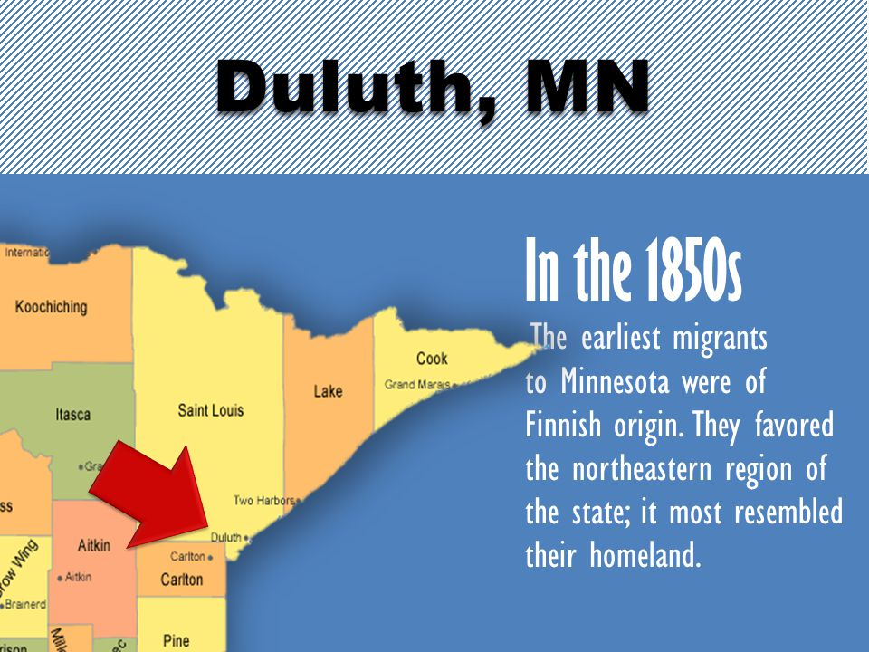 In the 1850s The earliest migrants to Minnesota were of Finnish origin. They favored the northeastern region of the state; it most resembled their hom
