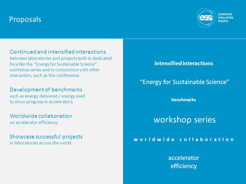 Continued and intensified interactions between laboratories and projects both in dedicated fora like the Energy for Sustainable Science workshop series and in conjunction with other interaction, such as this conference.