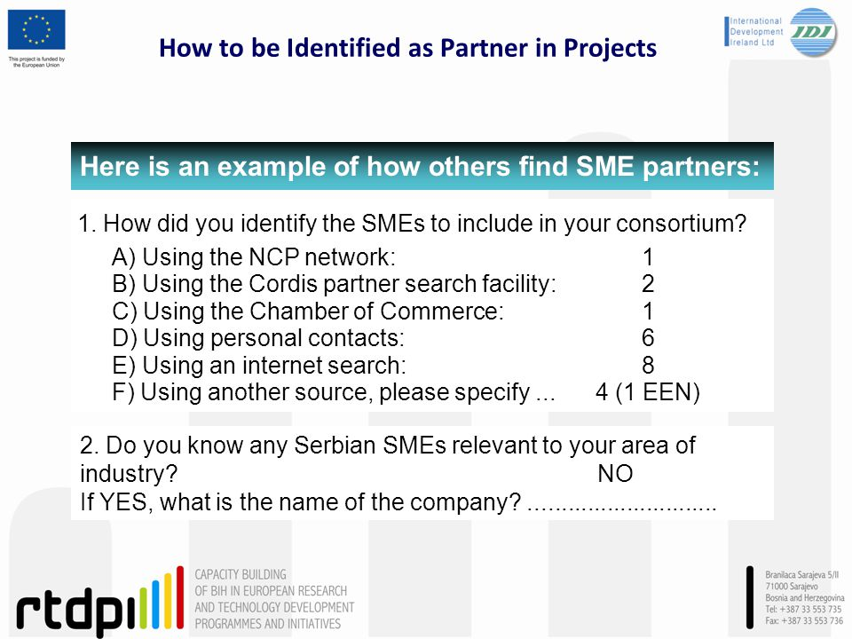 How to be Identified as Partner in Projects 2.