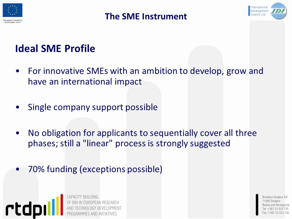 The SME Instrument Ideal SME Profile For innovative SMEs with an ambition to develop, grow and have an international impact Single company support possible No obligation for applicants to sequentially cover all three phases; still a linear process is strongly suggested 70% funding (exceptions possible)