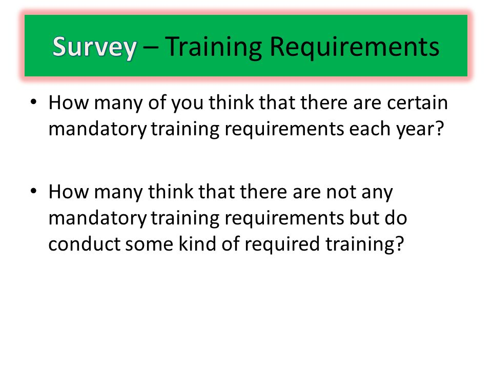 Is Training the Solution.