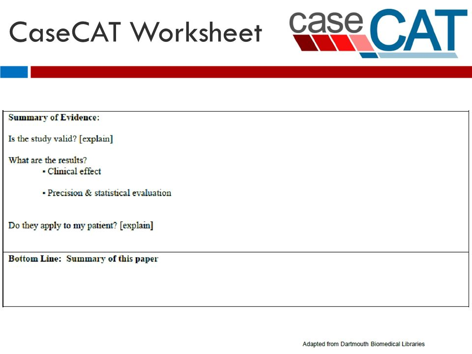 CaseCAT Worksheet