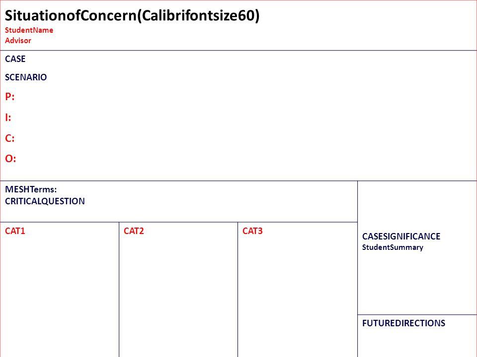 SituationofConcern(Calibrifontsize60) StudentName Advisor CASE Placethecriticalelementsofyourcasehere…e.g.,ChiefComplaint,Hx,AXIUMdata,photos,etc. SCE
