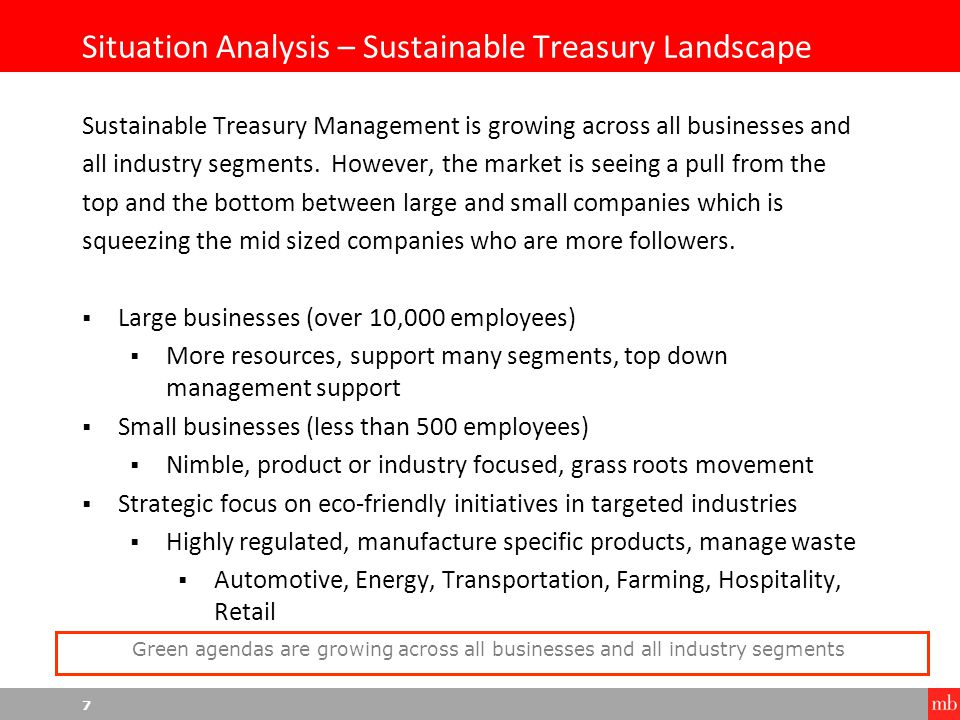 8 Situation Analysis – Corporate Go Green Strategies Corporate Treasury Go Green strategies can be looked at in three different categories  Passive  Reactive, one off projects, no real strategy or business plan  Active  Formal sustainability program, employee engagement, commitment to community footprint  Aggressive  Internal personnel dedicated to Go Green, formal policies with customers and local businesses, proven industry leadership Go Green strategies differ by organization and industry segments