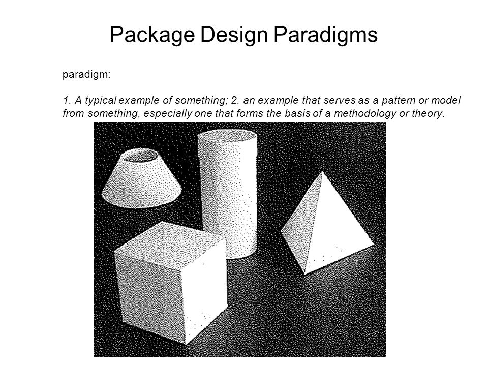 Package Design Paradigms paradigm: 1. A typical example of something; 2.