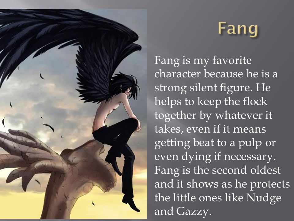  Fang is my favorite character because he is a strong silent figure.