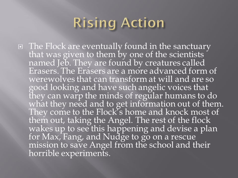 The Flock makes a plan to get Angel which all blows up when the Erasers raid their home while three of them are gone on their merry way to get Angel.