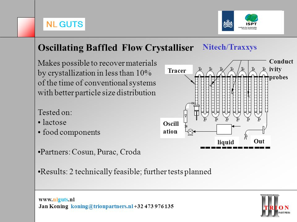 T R I O N PARTNERS PARTNERS www.nlguts.nl Jan Koning koning@trionpartners.nl +32 473 976 135 NL GUTS Oscillating Baffled Flow Crystalliser Makes possible to recover materials by crystallization in less than 10% of the time of conventional systems with better particle size distribution Tested on: lactose food components Partners: Cosun, Purac, Croda Results: 2 technically feasible; further tests planned Nitech/Traxxys