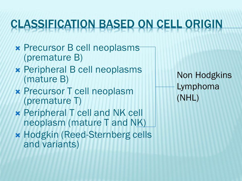  Precursor B cell neoplasms (premature B)  Peripheral B cell neoplasms (mature B)  Precursor T cell neoplasm (premature T)  Peripheral T cell and NK cell neoplasm (mature T and NK)  Hodgkin (Reed-Sternberg cells and variants) Non Hodgkins Lymphoma (NHL)